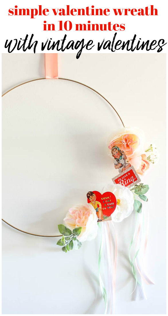A Valentine Wreath that will take 10 minutes or less to complete! Made using vintage printable valentines! An easy and simple valentine craft! #valentines #valentinecraft #valentinewreath
