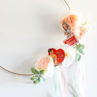 Valentines Wreath DIY with printable vintage valentines.