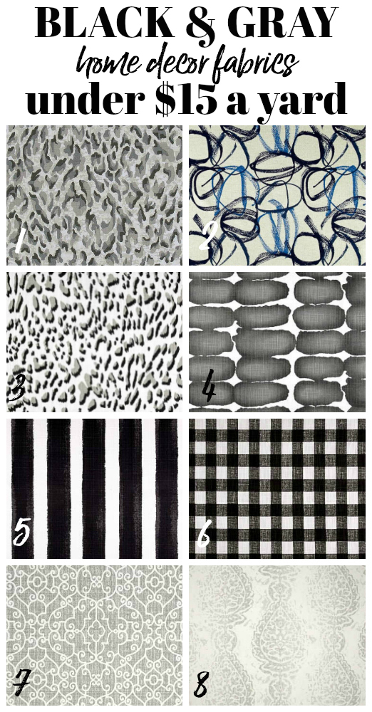 Black and Gray Cheap Home Decor and Upholstery Fabric by the yard
