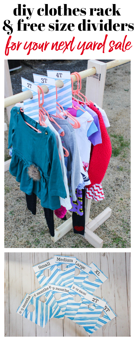 DIY Clothes Rack and Free Printable Size Dividers - great for yard sales or organizing babies closets.