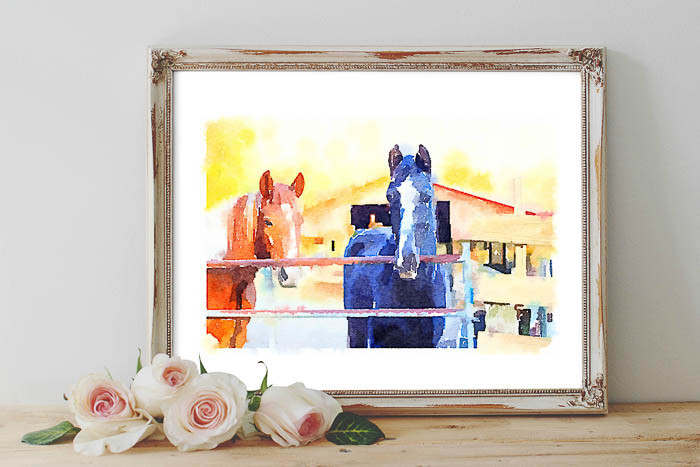 Free printable wall art for your home - includes black and white, color and watercolor horse pictures.