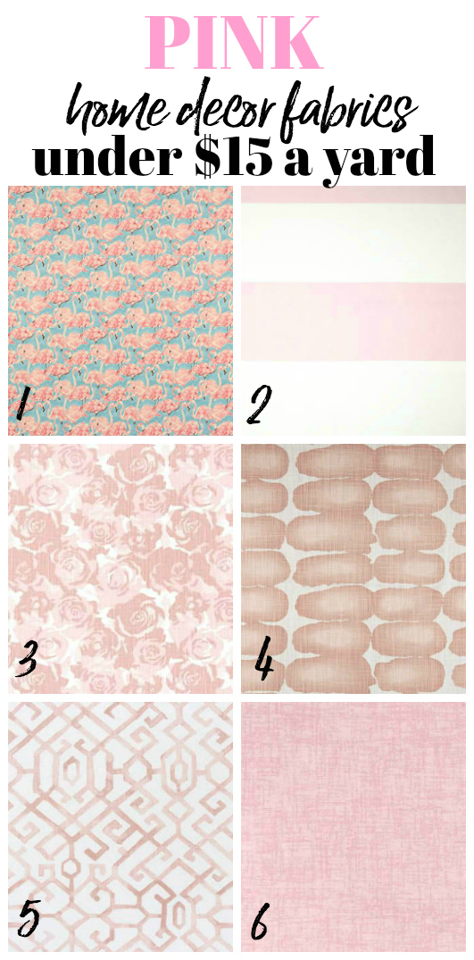 Pink Cheap and Affordable Home Decor and Upholstery Fabric by the yard