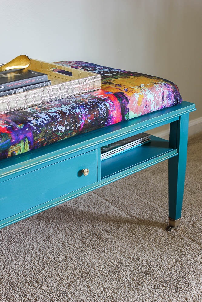 Add an upholstered top to a coffee table to create an ottoman or extra seating for your living room.