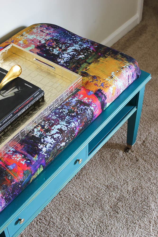 DIY Ottoman Coffee Table - can also double as a bench for extra seating in your living room.