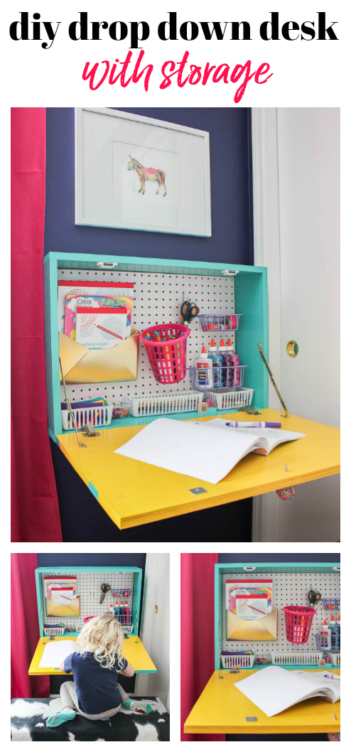 DIY Wall Mounted Drop Down Desk - perfect for kids or adults - customize how you like - an easy DIY project.