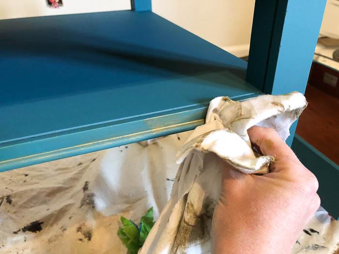 Velvet Finishes Enhance Metallic Glaze - wiping away a part of it.