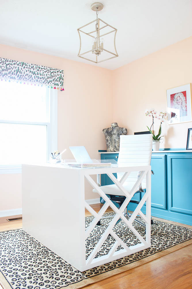 home office diy. Home Office Makeover With Budget-Friendly DIY Projects: Chippendale Desk, Peach Walls Diy