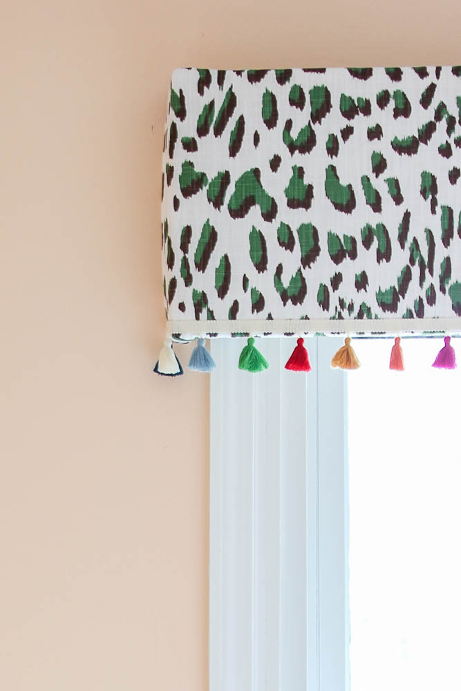Home Office Decor Ideas - Easy Upholstered Window Cornice with Tassels