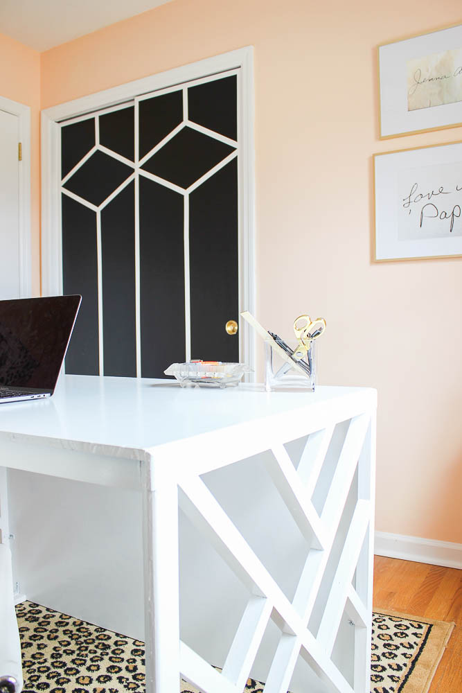Home Office Makeover with Budget-Friendly DIY Projects - painted and patterned closet doors.