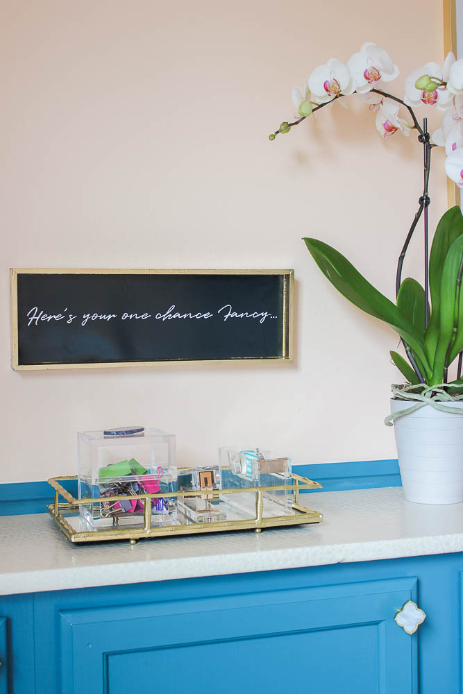 Home Office Makeover with lots of DIY project ideas that are affordable - free printable Here's Your One Chance Fancy artwork.