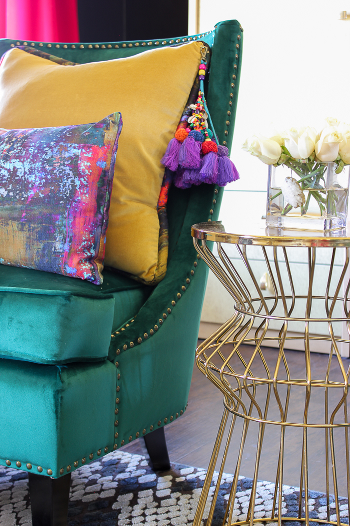 Renovated Split-Level Home Tour Full of Color and Character - 70's Inspired Living Room Design