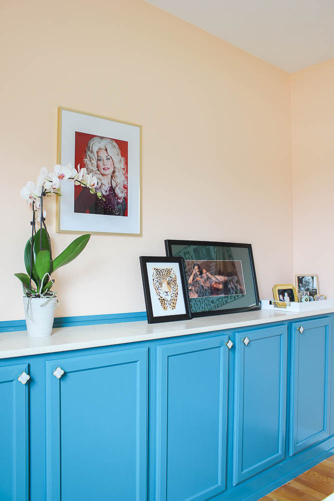DIY Built Ins Using Stock Cabinets - Blue cabinets with upholstered countertop - Rain on a Tin Roof