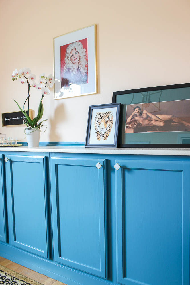 Built In Cabinets using Stock Cabinets - Blue cabinets against wall - Rain on a Tin Roof