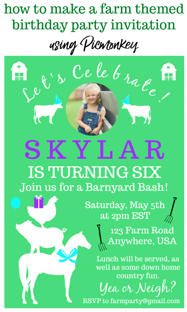 Farm Birthday Party Invitations Tutorial using Picmonkey - Rain on a Tin Roof