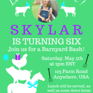 Farm Birthday Invitations using Picmonkey