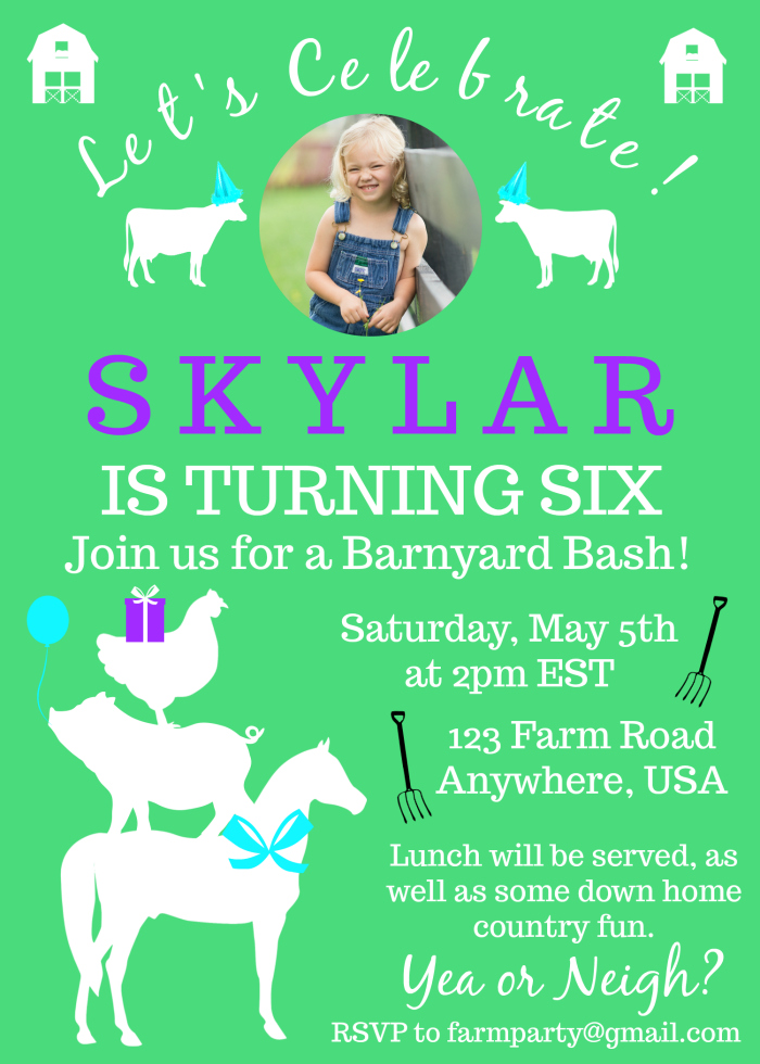 Create Your Own Farm Birthday Invitations Using PicMonkey For Free
