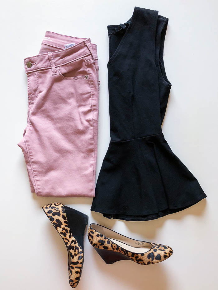 thredUP outfit ideas - black peplum top with pink jeans and leopard print wedges