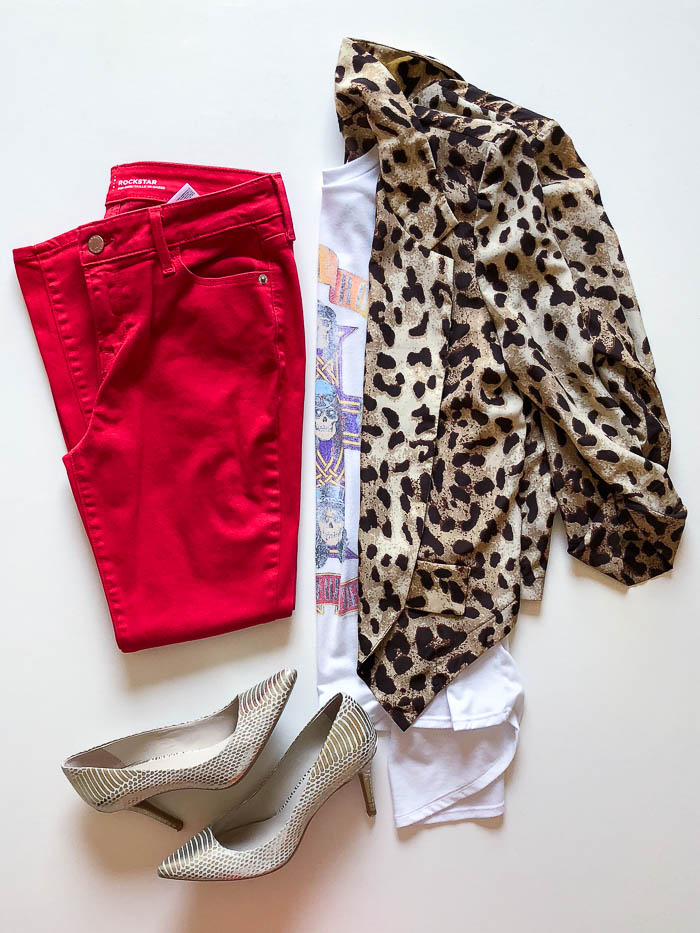 thredUP outfit ideas - leopard print blazer with Guns 'N Roses tee shirt and red jeans