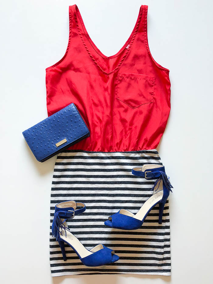 thredUP outfit ideas - red tank dress with black and white skirt