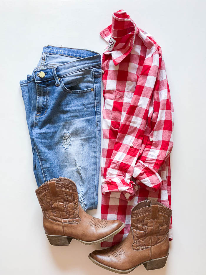 thredUP outfit ideas - red checked shirt and distressed jeans