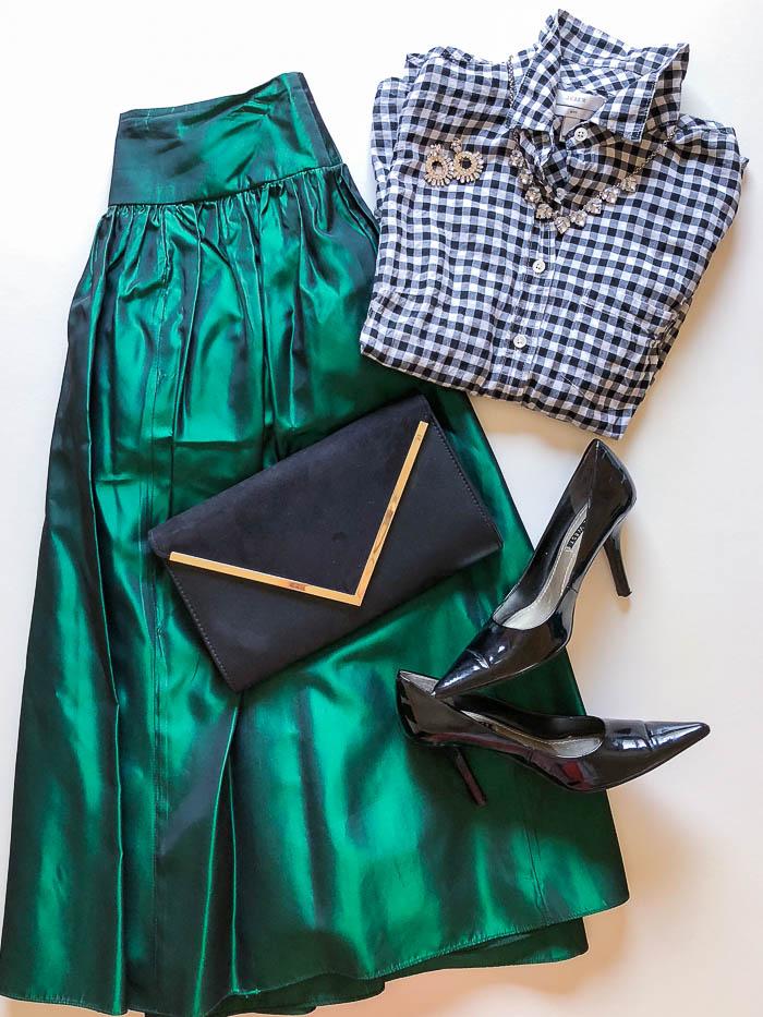 thredUP outfit ideas - black gingham shirt and green satin skirt