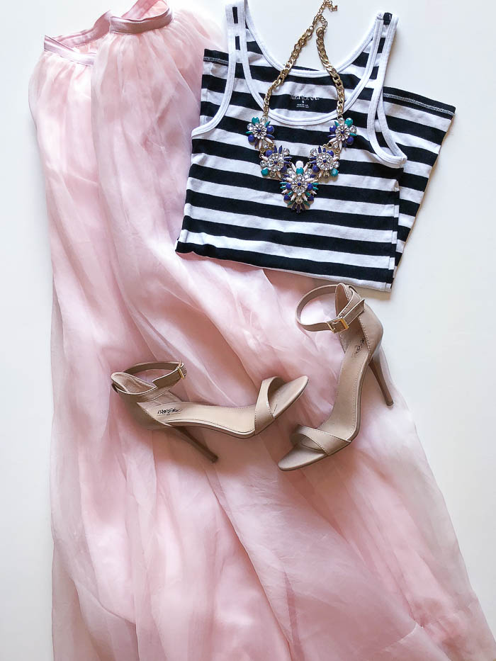 thredUP outfit ideas - long pink skirt and black and white tank top