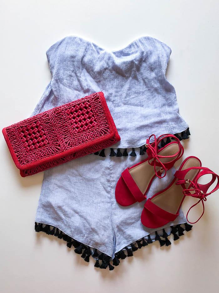 thredUP outfit ideas - tassel romper