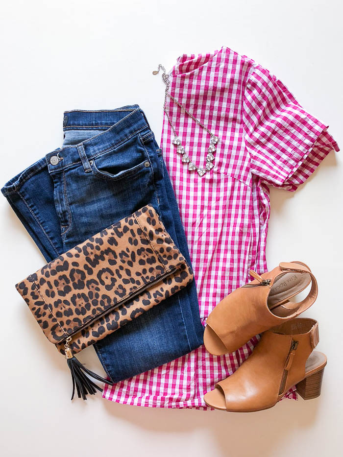 thredUP outfit ideas - pink gingham peplum top and jeans