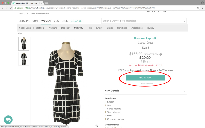 Tips for Finding the Good Stuff on thredUP - add to cart and favorite items.