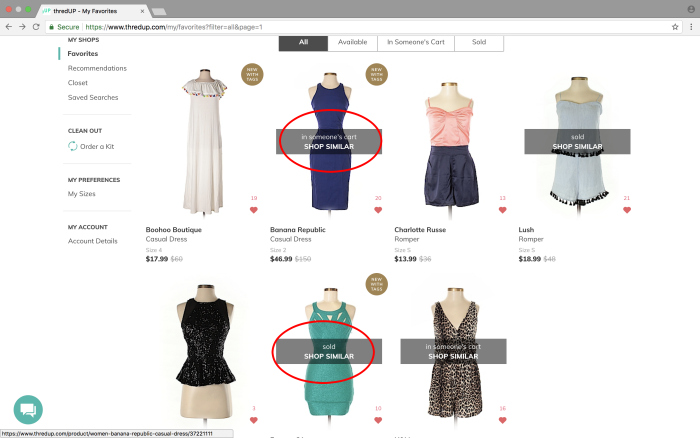 ThredUP shopping - see similar items based on your favorite items.