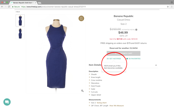 thredUP shopping tips - get notifications when an item becomes available.