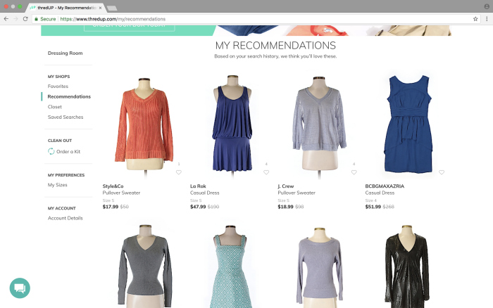 Tips for shopping thredUP - check out your recommendations
