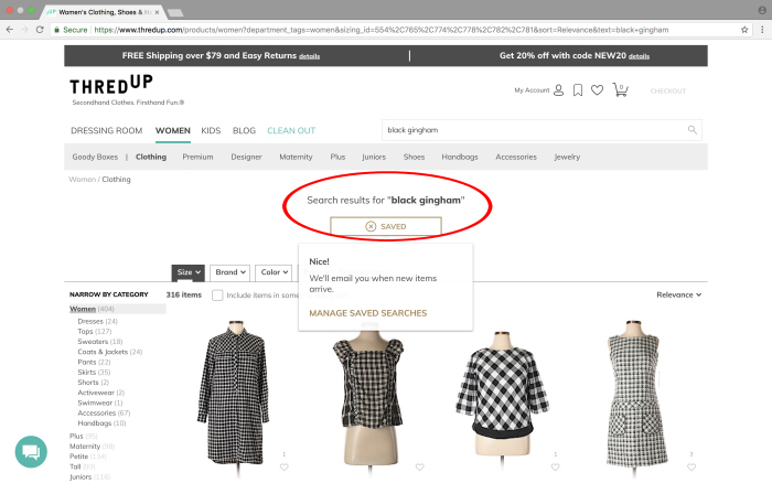 Tips for shopping on thredUP - turn on search notifications for specific items.
