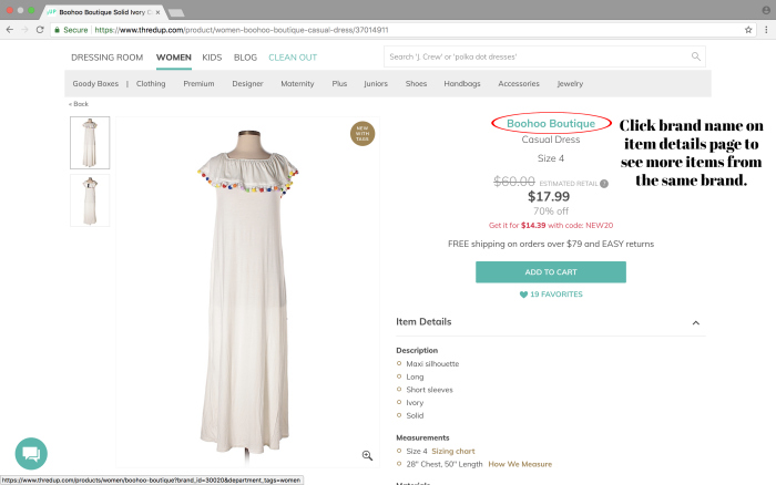 Tips for shopping thredUP - click brand names to see more items.