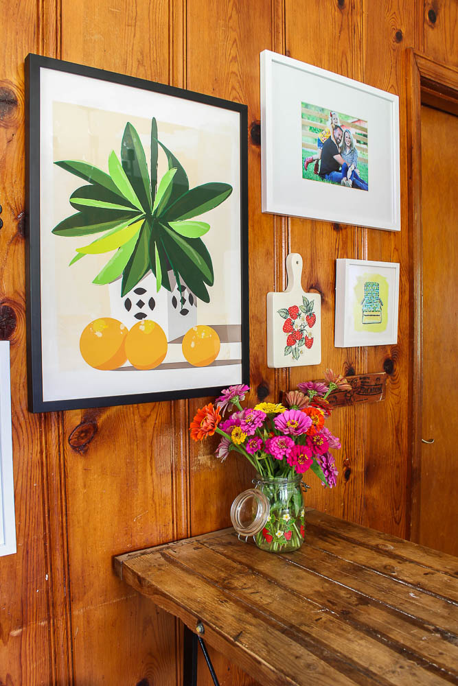 Knotty Pine Walls in the Kitchen - Decorating with Colorful Art - Rain on a Tin Roof