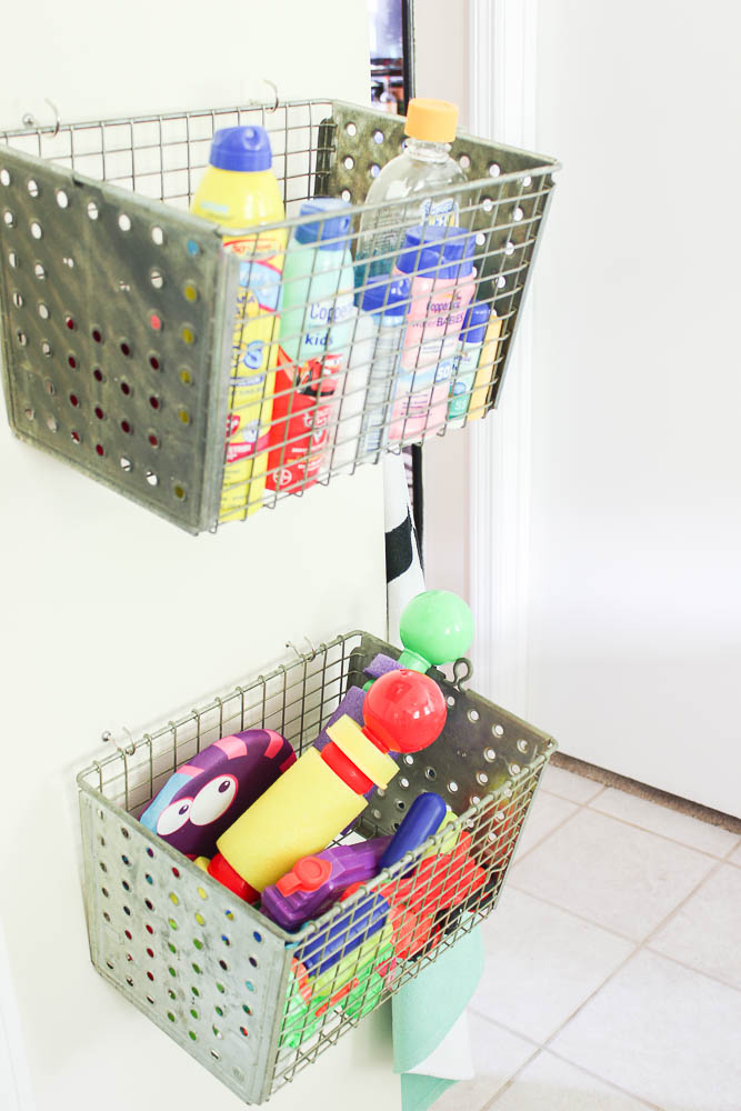 Mudroom Storage Ideas - Vintage Locker Baskets on Wall