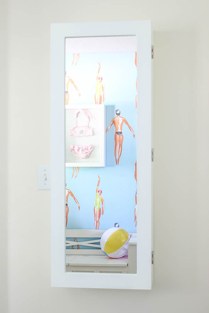 Wall Mounted Laundry Center with Mirror on Outside Door