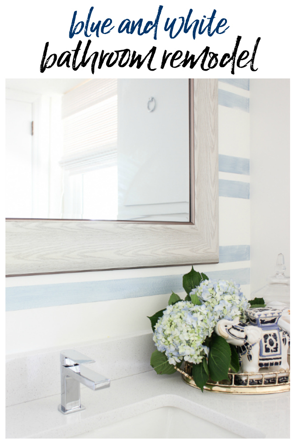Blue and White Bathroom with Washed Out Stripes