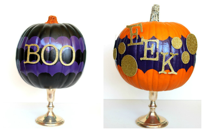 DIY Halloween Decor - painted pumpkins