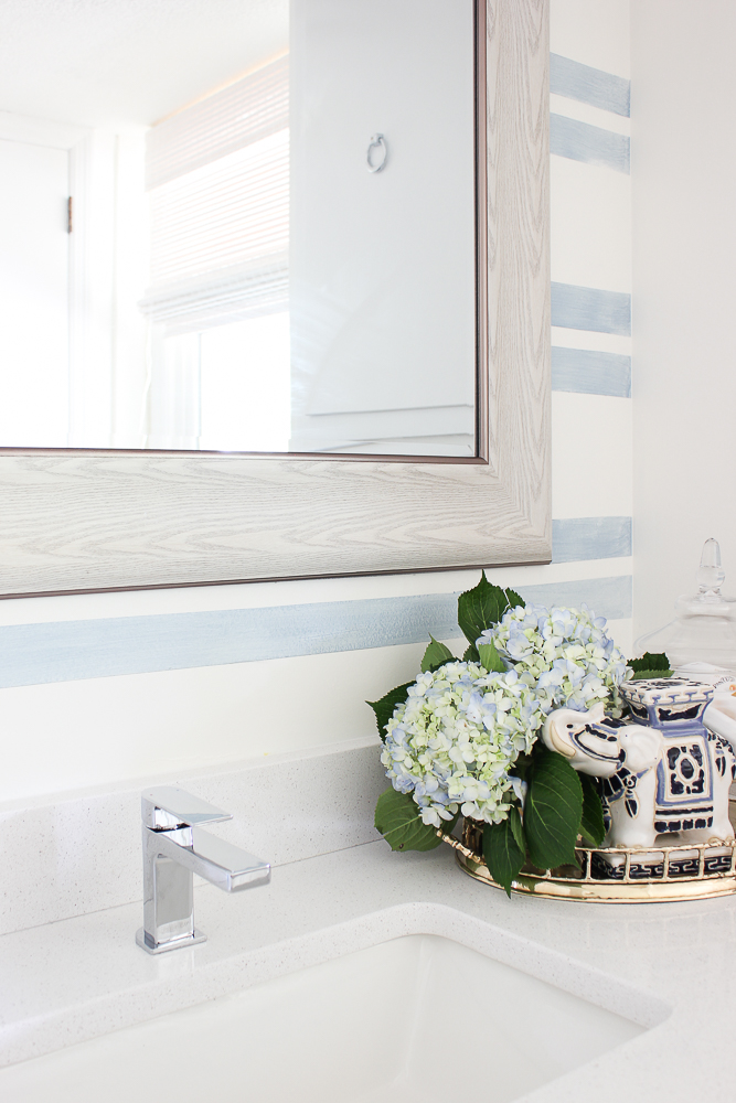 Striped Accent Wall with Washed Out Blue Stripes