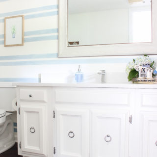 Washed Out Stripes Bathroom Accent Wall