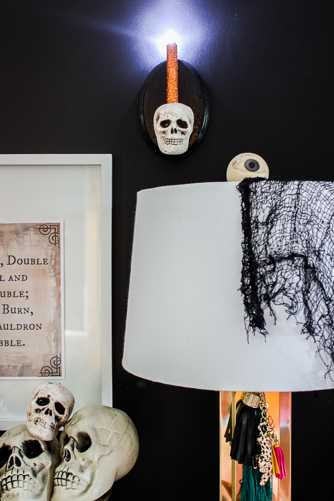 DIY Skull Sconce for Halloween