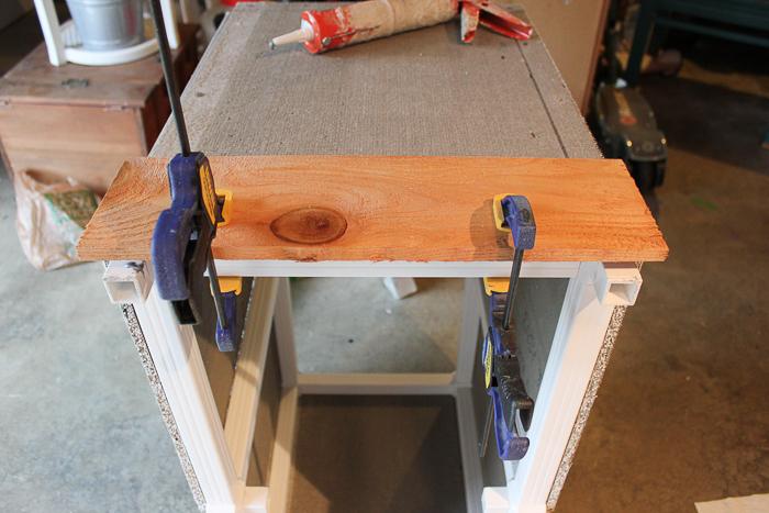 DIY wooden planter box using cedar.