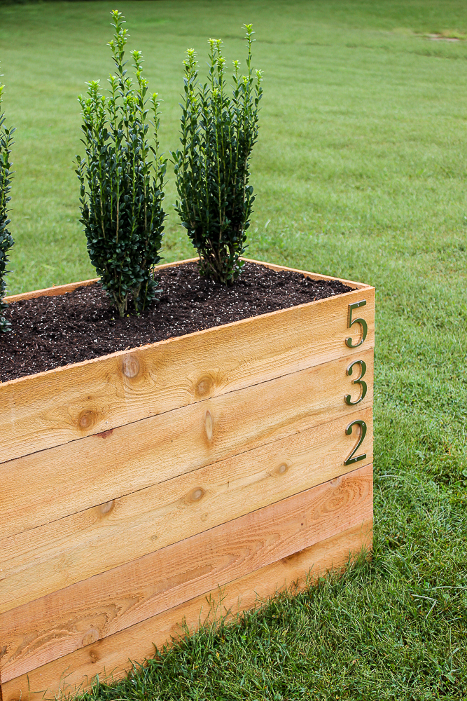 DIY Cedar Planter Box with House Numbers