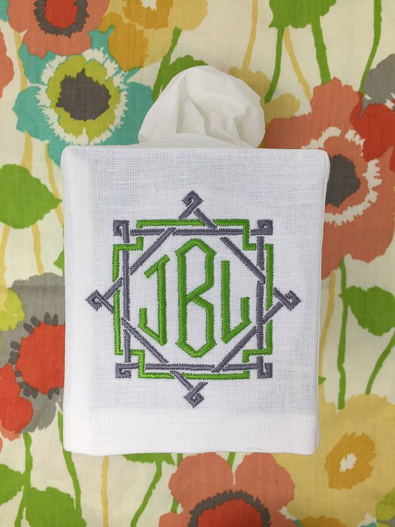 Monogrammed Gifts for Her - Tissue Box Cover
