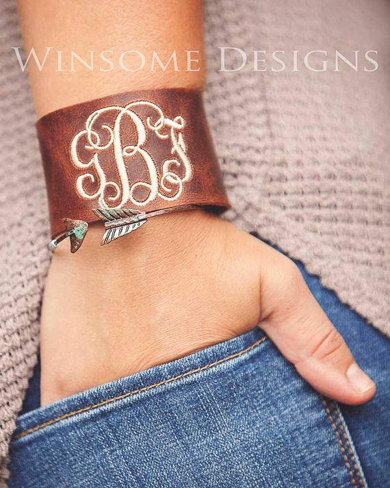 Cheap Monogrammed Gifts - Leather Bracelet