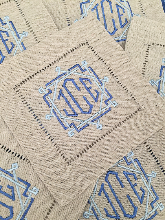 Unique Personalized Gifts for Her - Monogrammed Cocktail Napkins