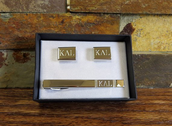 Personalized Gifts for Him - Tie Bar and Cufflink Set