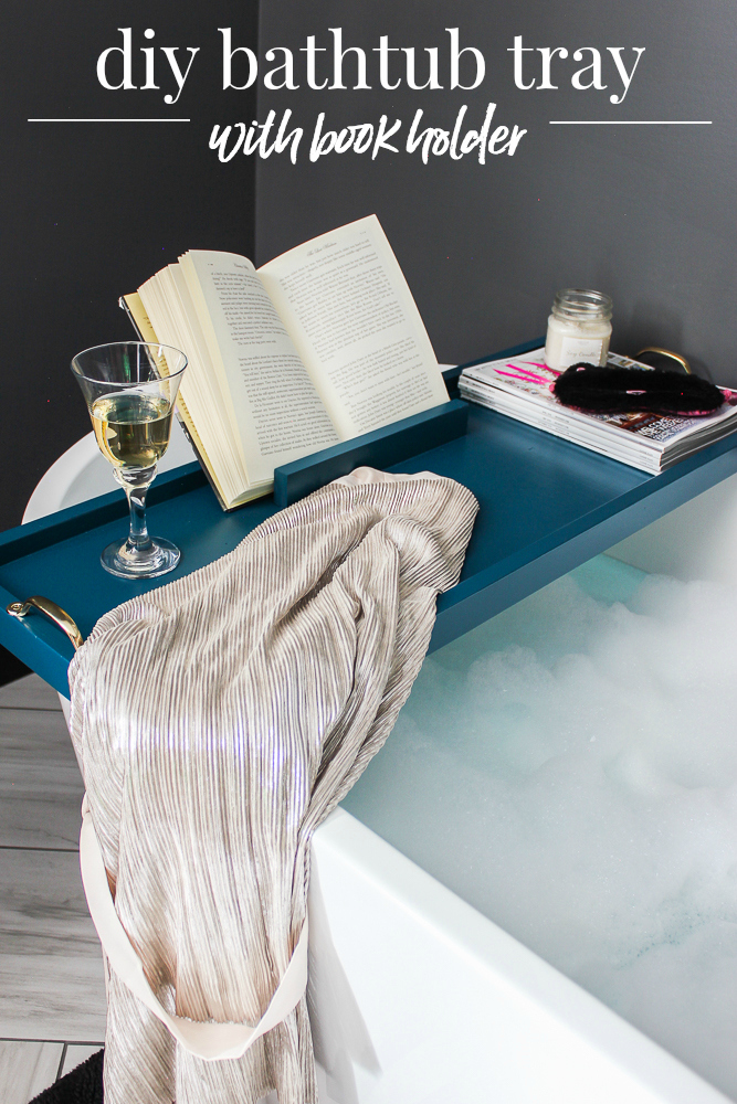 DIY Bathtub Tray with Book Holder