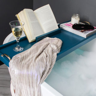 DIY Bathtub Tray with Bookholder